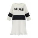 Color Block Letter Print Tassel Hem T-Shirt Dress