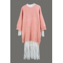 Round Neck Long Sleeve Sweater with Long Sleeve Maxi Lace Dress