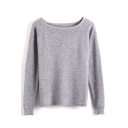 Boat Neck Long Sleeve Plain Pullover Sweater