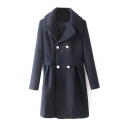 Double Metallic Button Notched Lapel Long Tweed Coat