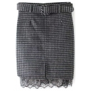 High Waist Lace Patchwork Split Front Plaid Midi Skirt with Belt