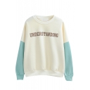 Letter Print Color Block Fleece Long Sleeve Sweatshirt