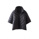 Lapel Zipper Black Half Sleeve Padded Cape