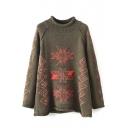 Maple Leaf Jacquard Geometric Round Neck Loose Sweater