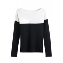 Boat Neck Long Sleeve Color Block Sweater