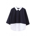 Color Block Collared Neck 3/4 Length Sleeve Blouse