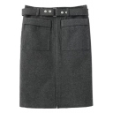Double Pockets Tube Midi Belt Waist Skirt