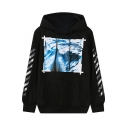 Print Hooded Long Sleeve Drawstring Sweatshirt