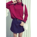 Turtleneck Long Sleeve Plain Pullover Sweater