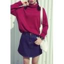 Turtleneck Long Sleeve Plain Pullover Sweater