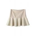Zip Side Patchwork Ruffle Hem Mini Skirt