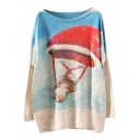 Cartoon Print Christmas Scoop Neck Long Sleeve Sweater