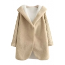 Hooded Long Sleeve Single Button Plain Coat