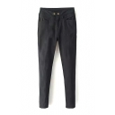 Black Zip Fly Skinny High Waist Pants