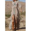 V-Neck 3/4 Length Sleeve Tribal Print Maxi Dress