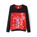 Round Neck Long Sleeve Color Block Print Sweatshirt