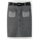 Button Detail Angora Pockets Patchwork Tube Skirt