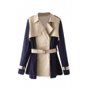 Epaulet Color Block Belt Waist Layered Duster