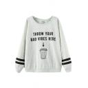 Batwing Sleeve Letter & Dustbin Print Round Neck Sweatshirt