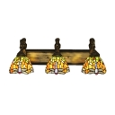 Country 24 Inch Wide Tiffany Bathroom Light with Dragonfly Pattern