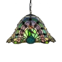 Vivid Peacock Pattern Stained Glass Tiffany 1-light Hanging Pendant Lighting