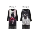 Round Neck Long Sleeve Character Print Tassel Dress