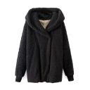 Hooded Single Breasted Black Faux Fur Coat