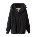 Hooded Single Breasted Black Faux Fur Coat