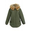 Fur Hooded Long Sleeve Zipper Green Coat