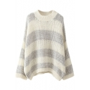 Round Neck Long Sleeve Stripes Sweater
