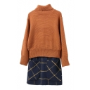 High Neck Long Sleeve Sweater with Tube Tweed Skirt