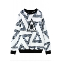 Round Neck Long Sleeve Triangle Print Sweatshirt