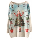 Christmas Tree Scoop Neck Long Sleeve Little Girl Print Sweater