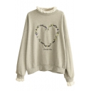 Round Neck Lace Detail Embroidery Long Sleeve Sweatshirt