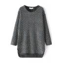 Long Sleeve Plaid Round Neck Tunic Sweater