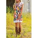 Short Sleeve Geometric Print Scoop Neck Dress