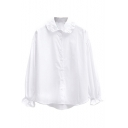 Elastic Wrist Ruffle Hem Lapel Long Sleeve White Shirt
