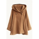 Hooded Double Buttons Plain Tweed Long Cape