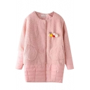 Lamb Wool Patchwork Fur Ball Detail Plain Padded Coat
