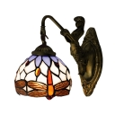 Downward Lighting 6 Inch Wide Tiffany Wall Sconce with Dragonfly Pattern Dome Shade