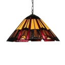 Downward Umbrella Shade 12 Inch Hanging Pendant Lighting in Tiffany Stained Glass Style