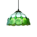 8 Inch Green/Rose Red Stained Glass Tiffany One-light Kitchen Hanging Pendant Light