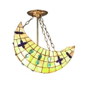 Moon Shape Studded with Jewelries Bell Tiffany Pendant for Kid's Room Lighting