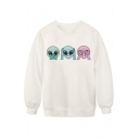 White Three Alien Print Long Sleeve Sweatshirt