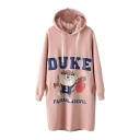 Hooded Long Sleeve Longline Cartoon Print Sweatshirt