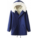 Hooded Long Sleeve Zipper Blue Coat