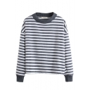 Round Neck Long Sleeve Stripes Pullover Tee