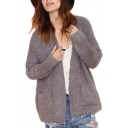 Cocoon Neck Long Sleeve Plain Double Pockets Cardigan