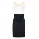 Scoop Neck Sleeveless Pencil Midi Tie Waist Dress