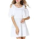 Cold Shoulder Short Sleeve Scoop Neck White Dress